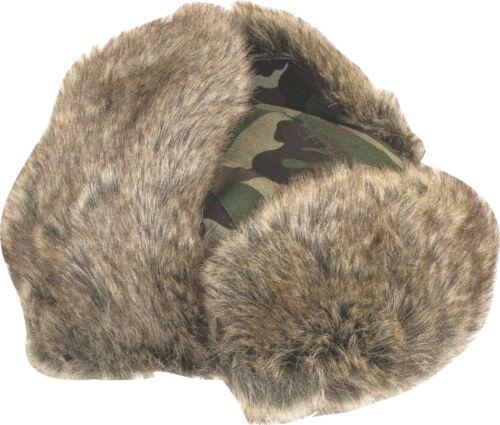 MENS HUNTERS FUR TRAPPER HAT winter stealth ushanka British army wood tree camo