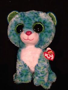 8aa1a6404a8 JUSTICE EXCLUSIVE TY BEANIE BOO LEONA THE LEOPARD BLUE   GREEN 8 ...
