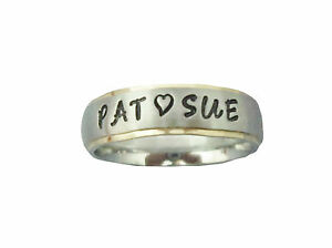 2-New-Personalized-Stainless-Steel-Couple-039-s-Rings-Gold-Edge-FREE-ENGRAVING