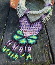 Stunning Large Huichol Beaded Deer Necklace Mexico Folk Art Hippie Boho Native