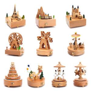 Wooden Music Box Clockwork Musical Children Birthday Christmas Gifts