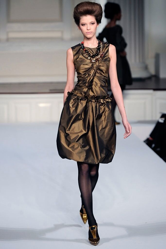 Oscar de la Renta New Women's silk corset  top  size 8 M bronze metallic