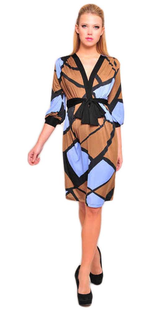 OLIAN Maternity Women's Brown bluee Geometric Print Wrap Around Sash Dress  130