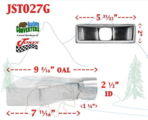 """JST027G 2.5/"""" Stainless Rectangle Camaro Exhaust Tip 2 1//2/"""" Inlet 6/"""" Wide 9/"""" Long"""