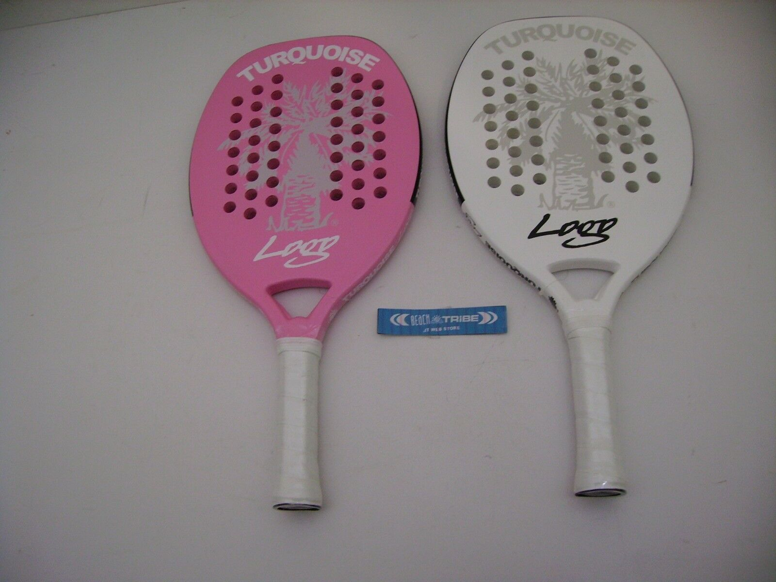 plage tennis racquets pair Turquoise Logo rose and blanc Logo 2017