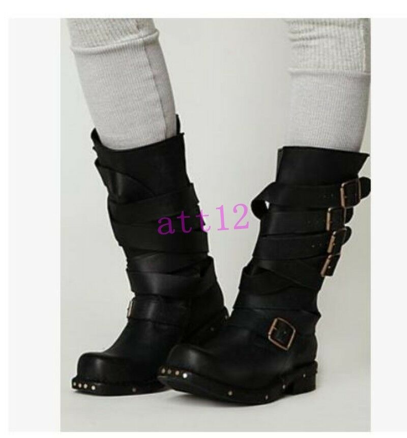 Vintage Womens Buckle Strap Mid Calf Boot Motor Punk Gladiator Leather Shoes New