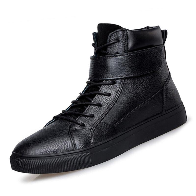 Hombre Casual alta Top zapatos atléticos zapatos zapatillas de cuero Board baile callejero