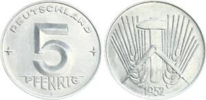 GDR 5 Pfennig 1952 E Prachtexemplar-Stempelglanz (3)