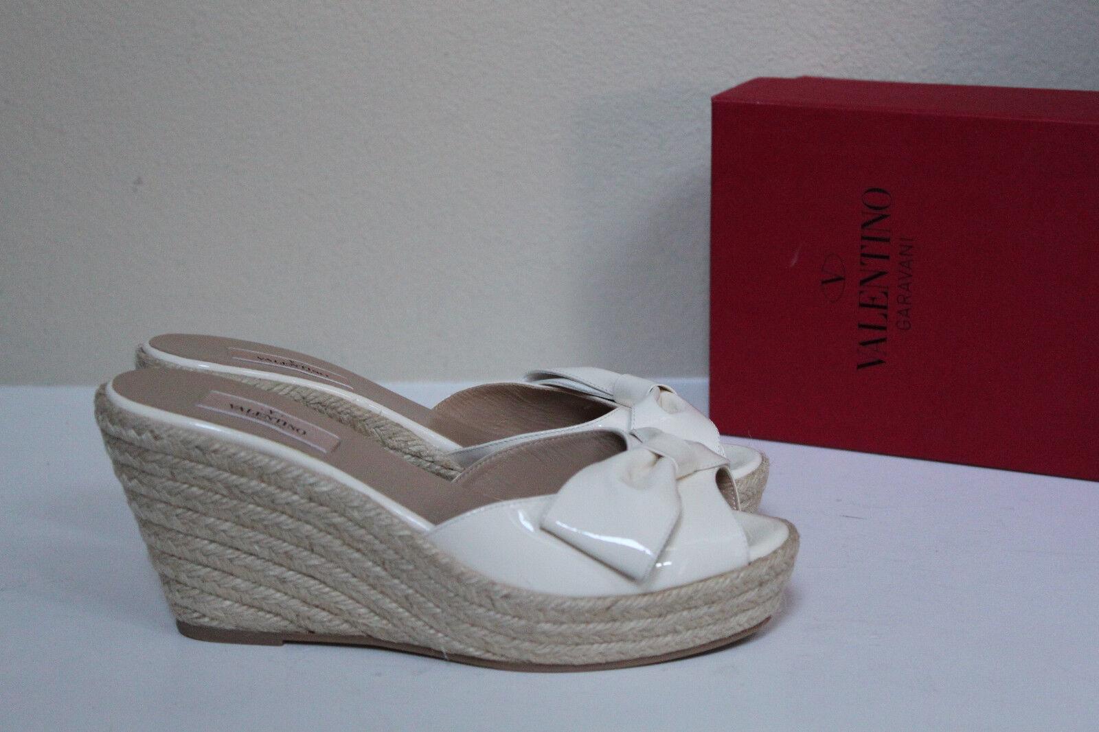 New 8.5 / 39 Valentino Bow White Patent Leather Wedge Mena Espadrille Slide Shoe