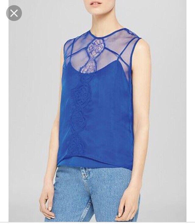 NWT Sandro Euforie Silk Lace Top Größe 1 Ocean Blau