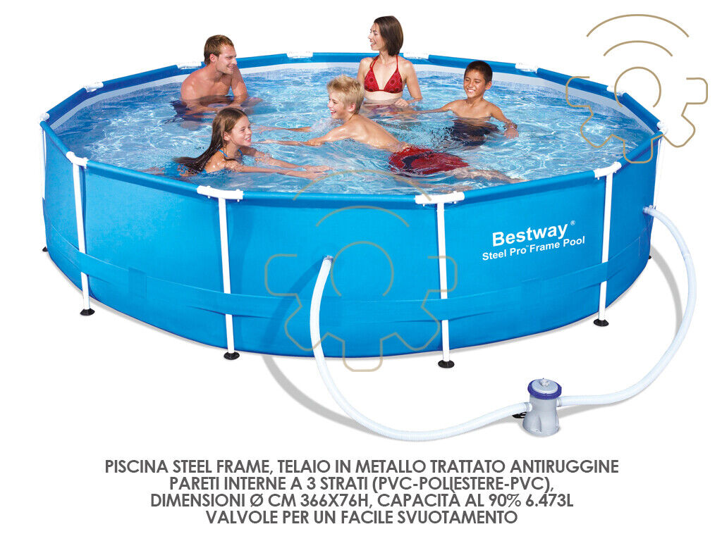 Bestway 56416 pool with filter pump chassis cm 366x76h round 6473 l for gar