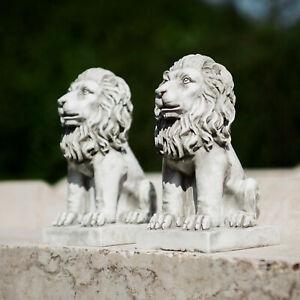 2pc-Stone-Effect-Sitting-Lions-Garden-Ornaments-Antique-Style-Statues-Door-Guard