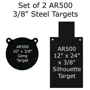 "One AR500 Steel Half Gong 10/"" x 3//8/"" Thick Target Shooting Practice Black"