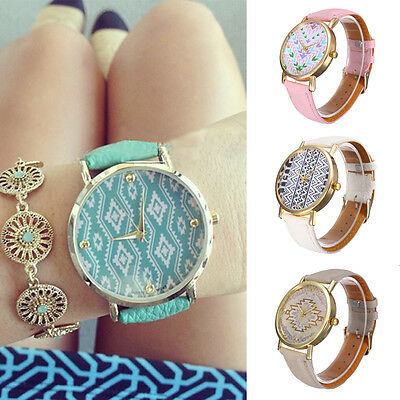 Fashion vintage Leather Geometric Wave Watch Women Dress Quartz Watches Gift