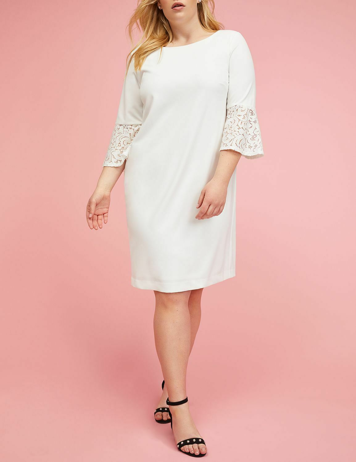 NEW LANE BRYANT IVORY LACE BELL-SLEEVE SHEATH DRESS SZ 16