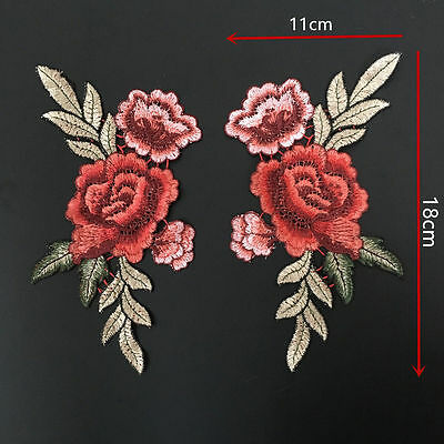 2 x Embroidery Rose Flower Sew On Patch Badge Bag Cheongsam Dress Appliques DIY