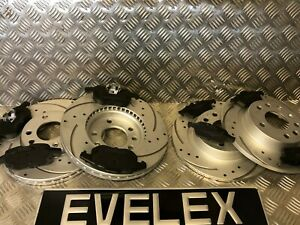 FRONT-amp-REAR-DRILLED-amp-GROOVED-DISCS-amp-PADS-SAAB-93-VAUXHALL-SIGNUM-VECTRA-285mm