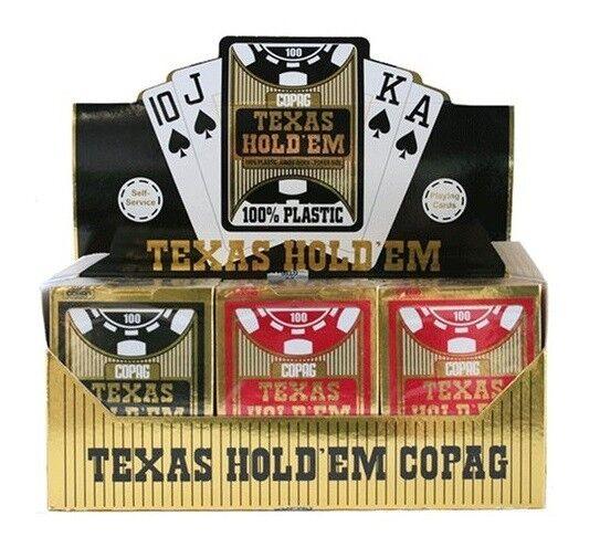 Cartucho de 12 juego de 54 cartas Copag oro 100% Plástico Negro Rojo oro 400667