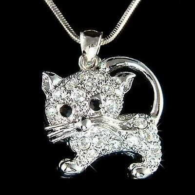 w Swarovski Crystal ~KITTY CAT KITTEN Pet Charm Pendant Chain Necklace meow Cute