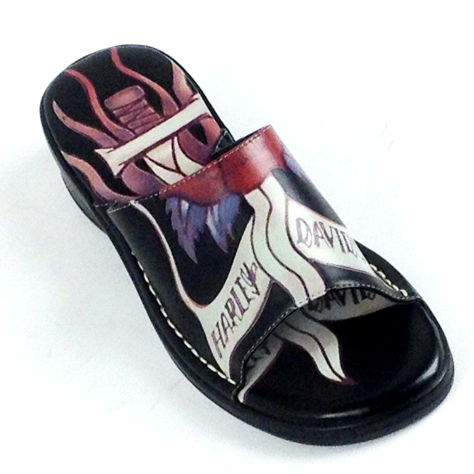 Harley-Davidson Women BLACK MAYLEE TATOO SLIDE SANDALS SLIDE STYLE