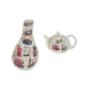 Red London Tea Spoon Rest /& Teabag Tidy Big Ben Bridge Royal Guard Telephone Box