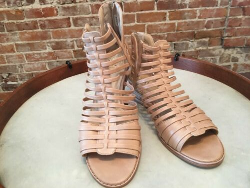 Details about  /Vince Camuto Natural Nude Leather Exposed Ankle Revey Wedge Sandals New