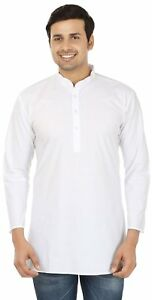 White-Cotton-Short-Mens-Kurta-Shirt-Indian-Clothing-Fashion-Cotton-India-Dress