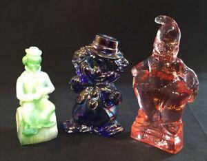 Mosser-Art-Glass-Clown-Cobalt-Carnival-Green-Slag-And-Pink-Assortment