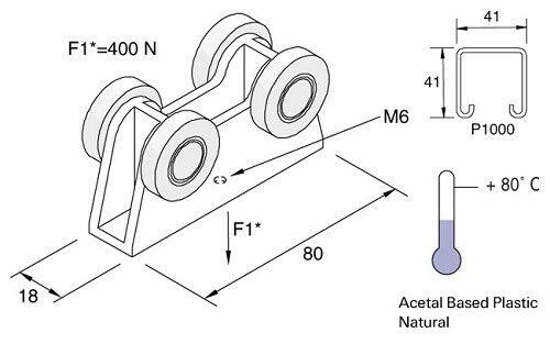 UNISTRUT P2750//1 TROLLEY ASSEMBLY PLASTIC