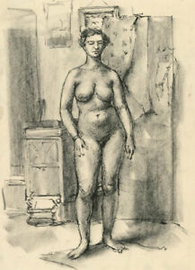 Peter Collins ARCA - c.1970s Pen and Crayon Drawing, Nude Standing in Interior