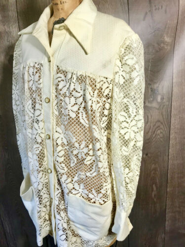 Vintage 1970's Lace Woman's Swimwear Cover Shirt … - image 1