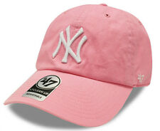 Womens Pink New York Yankees Cap Clean Up Curved Baseball Cap MLB '47 Brand Cap