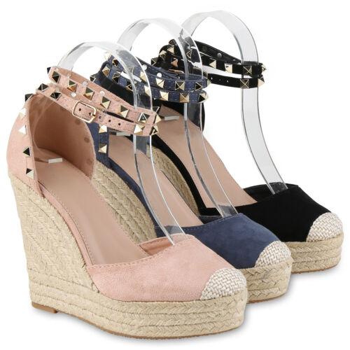 Damen Sandaletten Keilabsatz Nieten Bast Wedges 815083 Hot