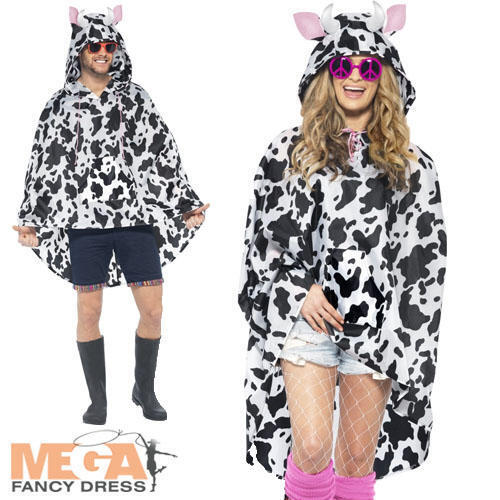 Cow Poncho Waterproof Festival Fancy Dress Adults Mens Ladies Animal Costume New