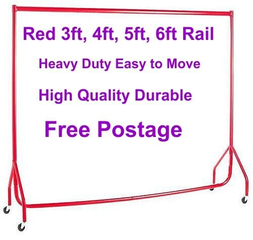 Garment Rails RED HEAVY DUTY 3ft,4ft,5ft,6ft Hanging Clothes Shop Displays❤