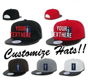 d516307b5 Details about CUSTOM EMBROIDERY Personalized Customized Decky Vinyl Brim  Snapback Cap 1071