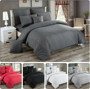 Seersucker-Double-Queen-King-Super-King-Size-Bed-Duvet-Doona-Quilt-Cover-Set-New