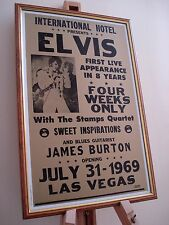 ELVIS PRESLEY LAS VEGAS HILTON INTERNATIONAL1969 FRAMED CONCERT TOUR POSTER