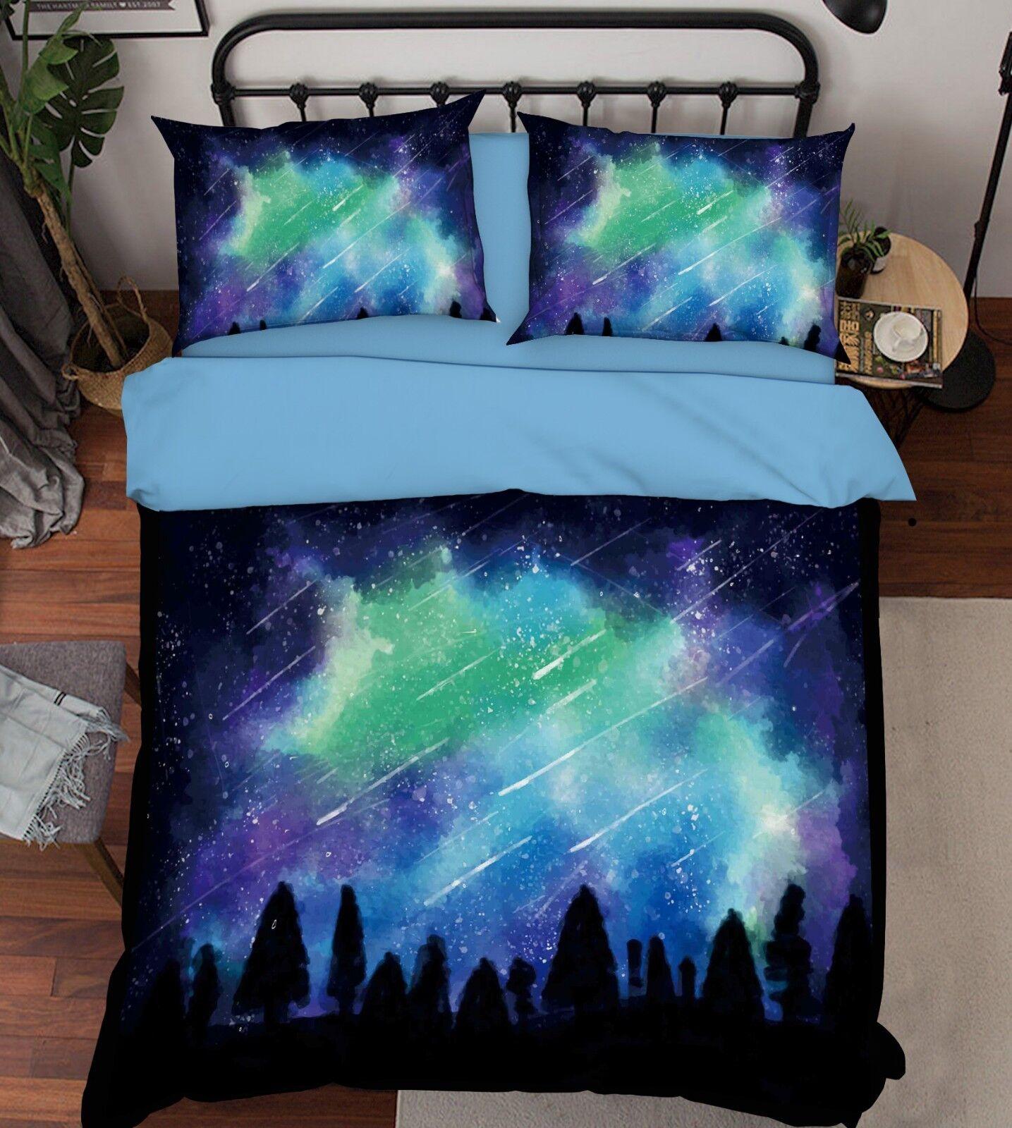 3D Graffiti Mountain7 Bed Pillowcases Quilt Duvet Cover Set Single Queen King CA