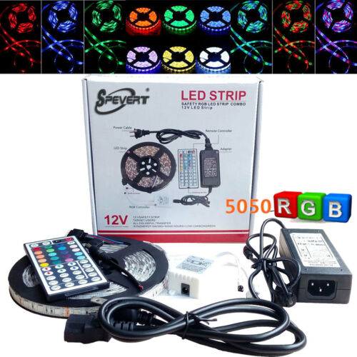 5M 5050 SMD RGB 300 LED Light Strip Flexible Lamp + 24/44 IR Remote 12V Adapter