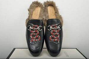 984ba8deb9a Image is loading GUCCI-Authentic-New-Princetown-Fur-Lined-Leather-Slippers-