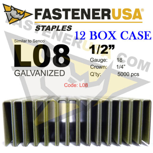 """case qty 12 L Staples L08 Galv 18 gauge 1//4/"""" crown 1//2/"""" length fits Hit//Sen"""