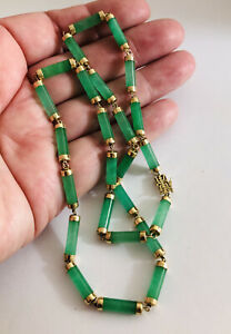 Vintage-14-Ct-Gold-Chinese-Jade-Necklace-Heavy-585-14k