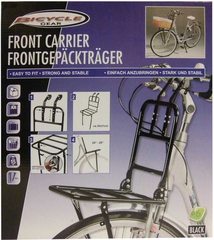 Avant vélo porte porte porte bagage front porte-bagages vélo porte-bagages en Noir NEUF 998719