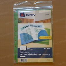 Avery Binder Pockets 55 X 85 Fold Out Durable Plastic 7 Hole Assorted 3 Pack