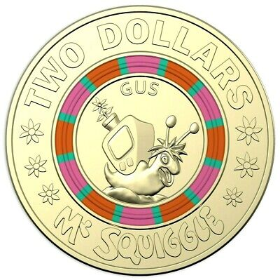2019 $2  Coin 60th Anniversary of Mr Squiggle and Friends Coloured Unc #3 EX SET