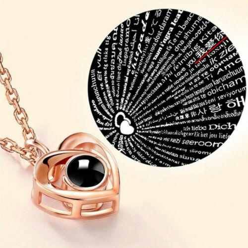 100 Languages I Love You Light Projection Heart Pendant Necklace Lover Jewelry
