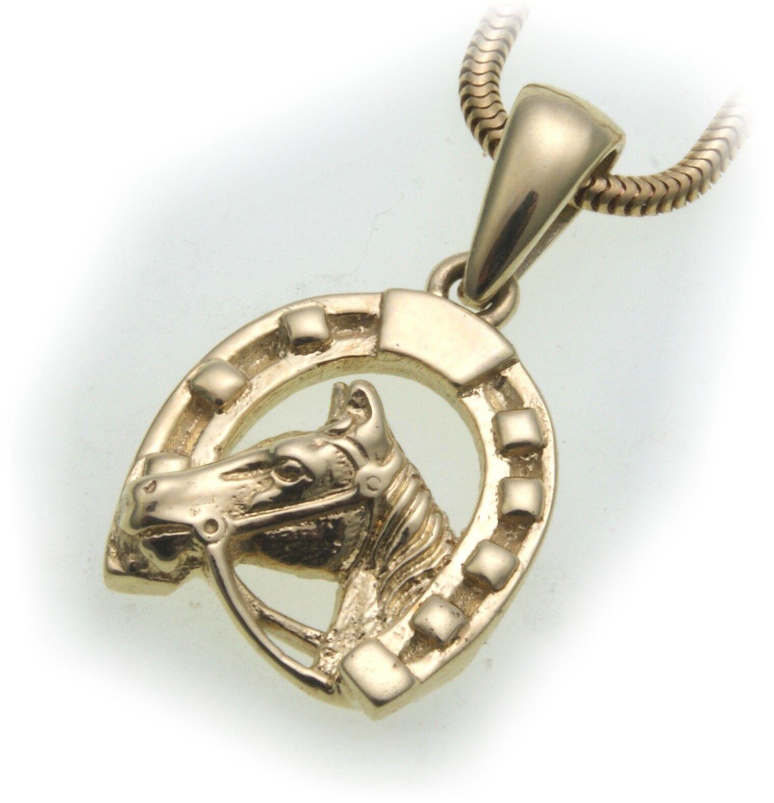Pendant Horse Horseshoe Geniune gold 585 YELLOW gold SOLID Riding Unisex Horses