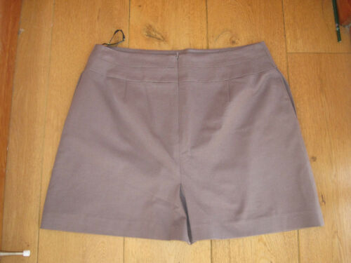 WAREHOUSE TAUPE COFFEE BROWN A LINE MINI SKIRT BUTTON PLEAT DETAIL 12 14 16 NEW