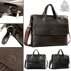 Genuine-Classic-Leather-Bag-Business-Briefcase-Laptop-Shoulder-Messenger-Satchel